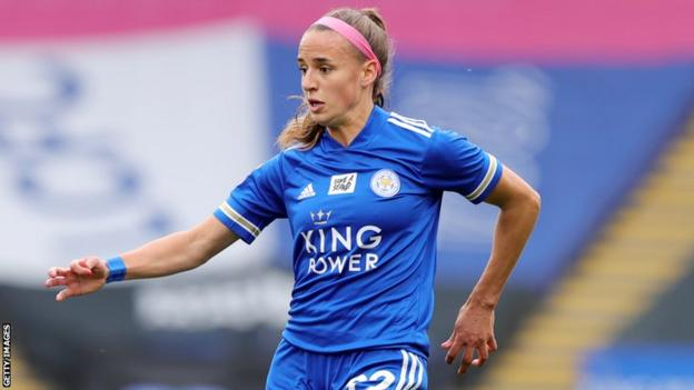 Ashleigh Plumptre in action for Leicester City Women