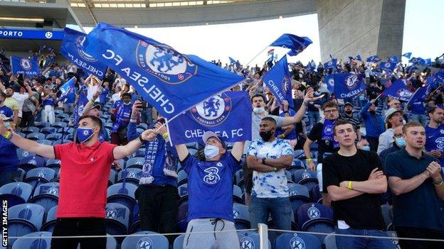 Chelsea fans at Champions League final in May