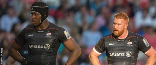 Mako Itoje and Joel Conlon playing together for Saracens in 2017