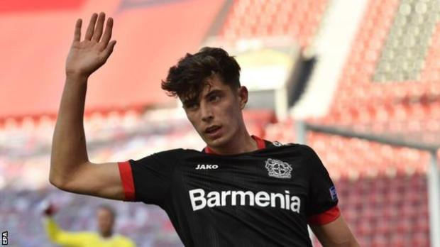 Kai Havertz reacts while playing for Bayer Leverkusen