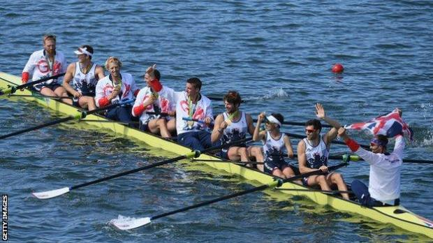 The GB men's eight in rowing at Rio 2016 celebrate