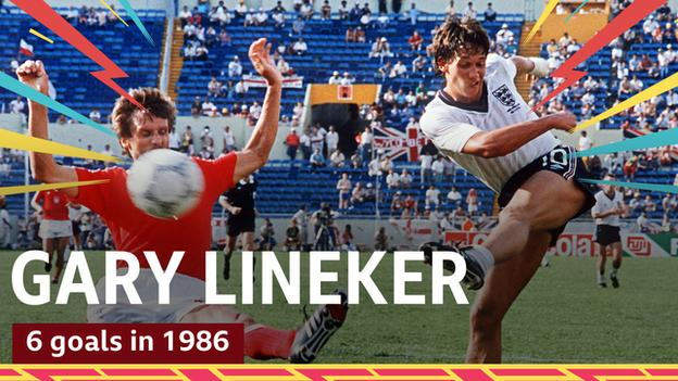 Gary Lineker in action for England at the 1986 World Cup in Mexico
