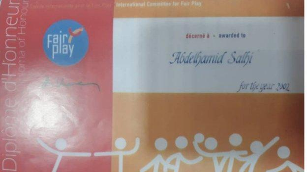 Abdelhamid Salhi's fair play certificate