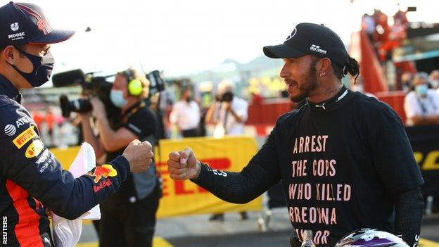 sport Lewis Hamilton after winning the Tuscan Grand Prix