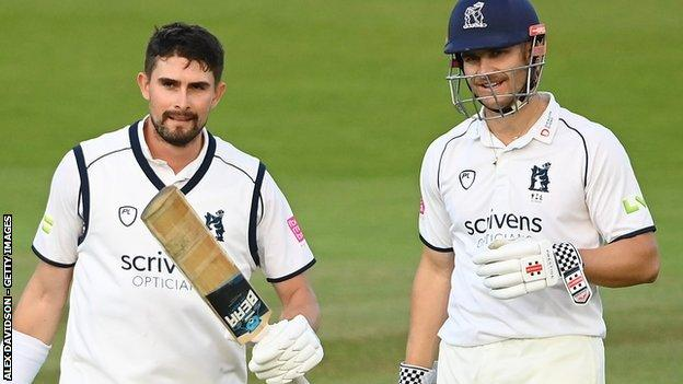 Warwickshire's Will Rhodes (left) has now played three first-class innings at Lord's - and got centuries in two of them