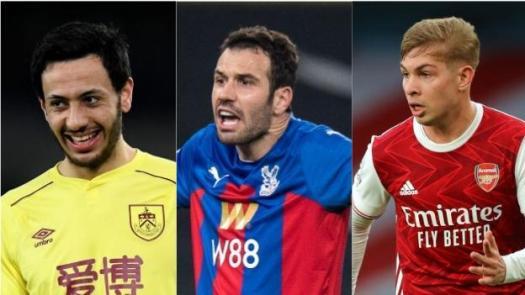 Dwight McNeil (Burnley), Luka Milivojevic (Crystal Palace), Emile Smith Rowe (Arsenal)