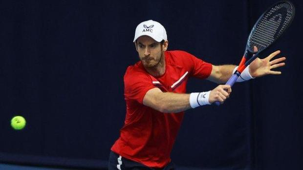 Andy Murray playing at the Battle of the Brits event earlier in December