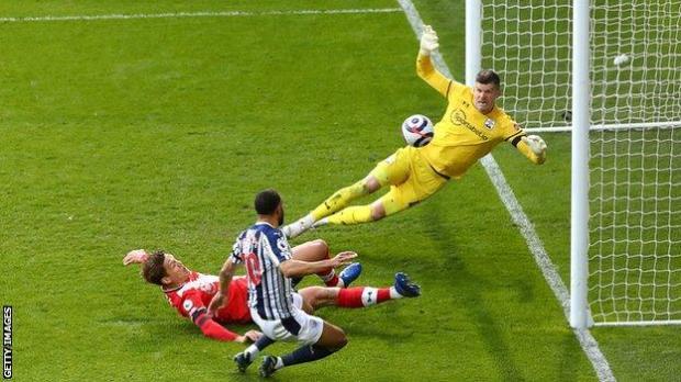 Matt Phillips scoring West Brom's second goal against Southampton