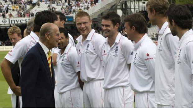 Prince Philip meets the England cricket team at Lord's in 2009