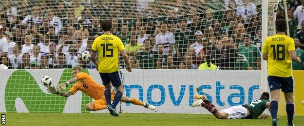 Scott Bain makes a save for Scotland against Mexico