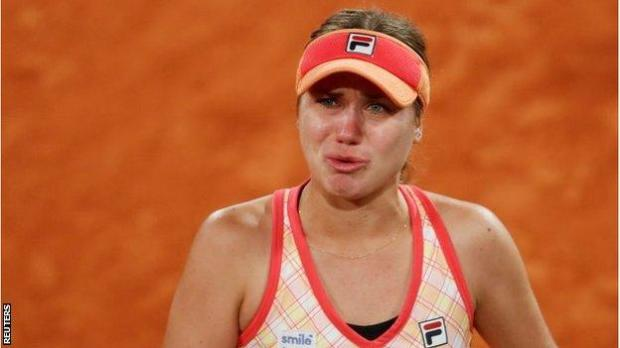 Sofia Kenin was upset after her fourth round win