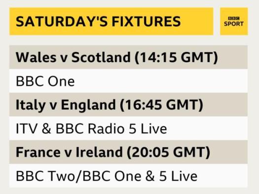 Wales v Scotland kicks off at 14:15 GMT, followed by Italy v England at 16:30 GMT and then France v Ireland at 20:05 GMT