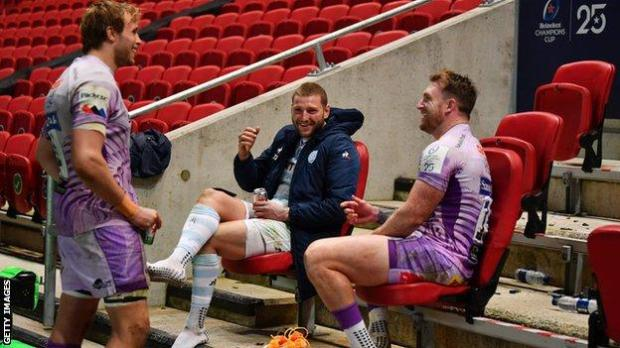 Finn Russell (centre), Stuart Hogg (right) and Jonny Gray - who all played in the Champions Cup final - are restored to the Scotland XV