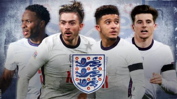 England forwards: Raheem Sterling, Jack Grealish, Jadon Sancho, Mason Mount
