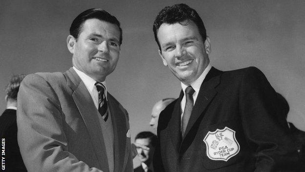 foot ball Dai Rees and Jackie Burke at the 1957 Ryder Cup