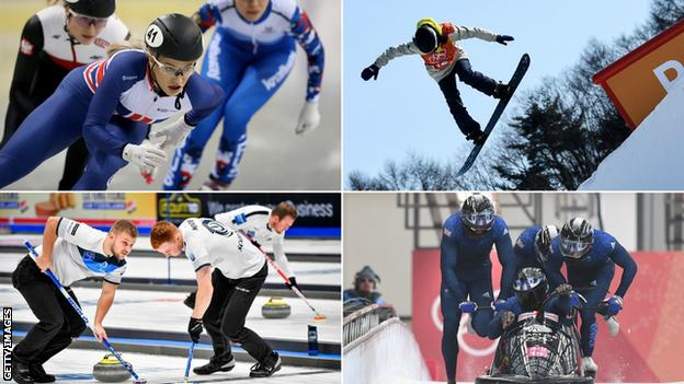Split pic of GB winter sport athletes: Elise Christie, Katie Ormerod, Kyle Waddell and Duncan Menzies, and GB bobsleigh at Pyeongchang 2018