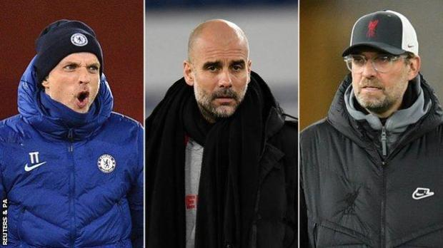 Chelsea manager Thomas Tuchel (left), Manchester City boss Pep Guardiola and Liverpool manager Jurgen Klopp
