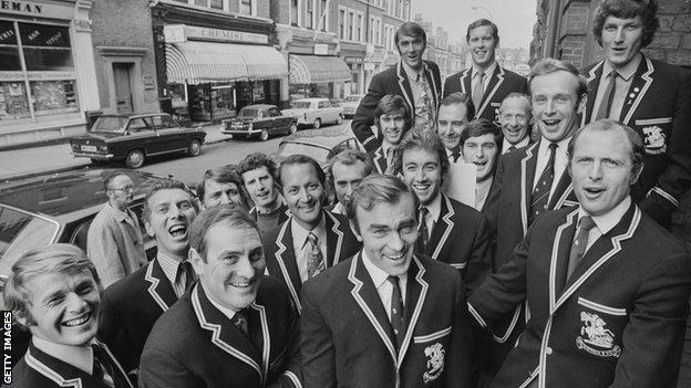 John Edrich flanked by Ray Illingworth and Geoffrey Boycott as England prepared to record 'The Ashes Song' in 1971