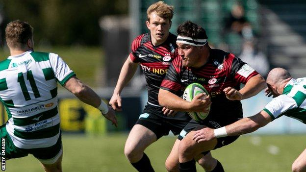 Jamie George in action for Saracens against Ealing