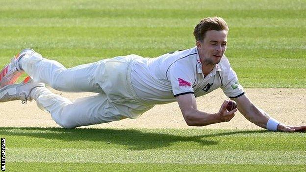 Craig Miles' caught and bowled to get rid of Lancashire opener Alex Davies was probably the highlight of his first five-wicket haul at Lord's