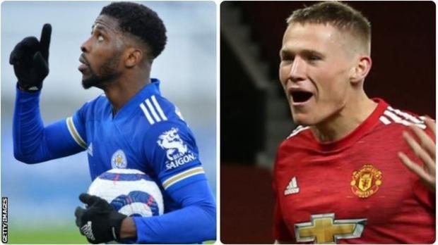 Leicester City's Kelechi Iheanacho and Manchester United's Scott McTominay
