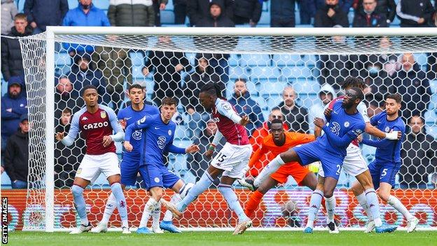 Bertrand Traore scores for Aston Villa against Chelsea at Villa Park