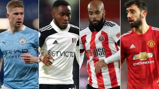 Kevin De Bruyne, Ademola Lookman, David McGoldrick and Bruno Fernandes