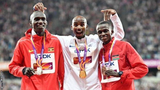 Mo Farah with Paul Tanui and Joshua Cheptegei