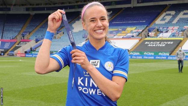 Leicester Women's Ashleigh Plumptre with her medal for winning the English FA Women's Championship