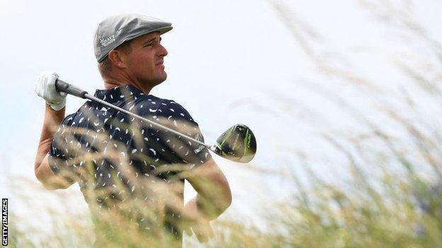 Bryson DeChambeau teeing off at the 149th Open Championship at Royal St George's