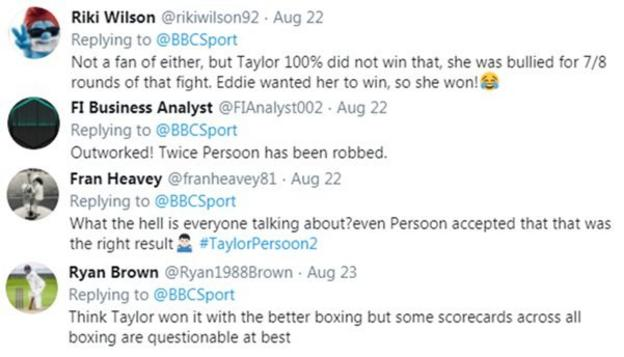 Boxing fans on Twitter are split as to whether Katie Taylor won, with some saying she was a clear winner while others saying Pearson was robbed