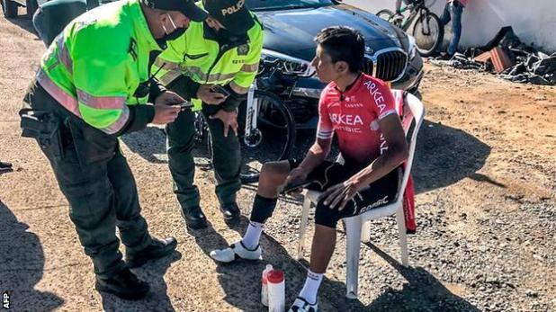 Cars: Nairo Quintana speaking to police