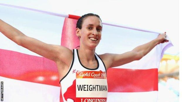 Laura Weightman celebrates claiming bronze at the 2018 Commonwealth Games