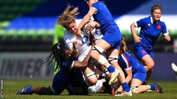 Poppy Cleall is tackled