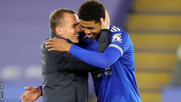 Leicester City manager Brendan Rodgers (left) and defender Wesley Fofana