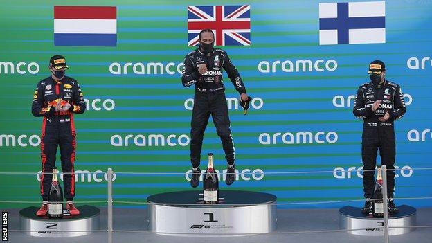 Verstappen, Hamilton and Bottas on the podium