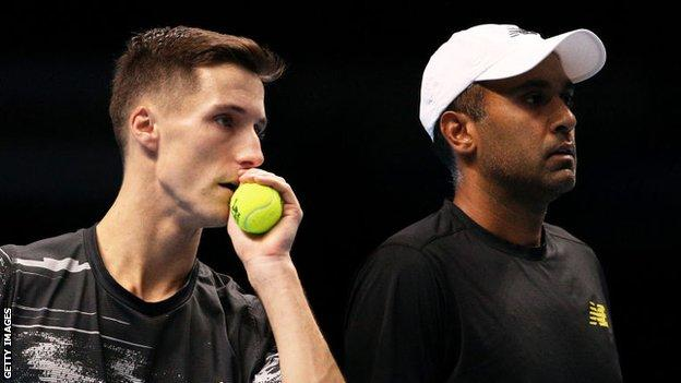Joe Salisbury (left) and Rajeev Ram playing at the 2019 ATP Finals