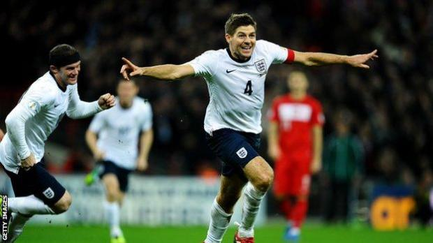 Steven Gerrard celebrates scoring for England against Poland in a World Cup qualifier in 2013
