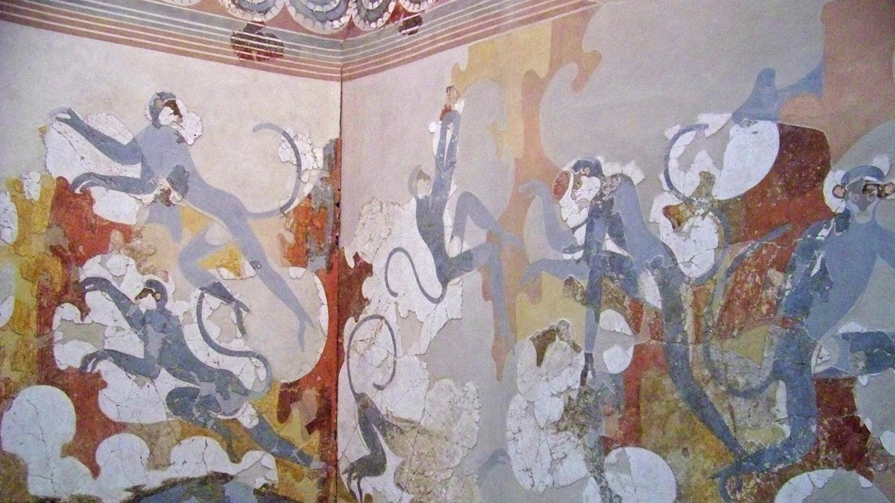 Akrotiri, Museum of Prehistoric Thira, Santorini, Minoans, Greek islands, frescoes (Credit: Amanda Ruggeri)