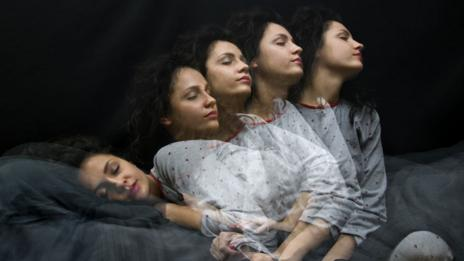 Multiple images of sleeping woman.