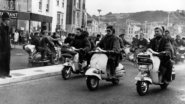 Mods at Hastings with their scooters. (Credit: Photo by Keystone/Getty Images)