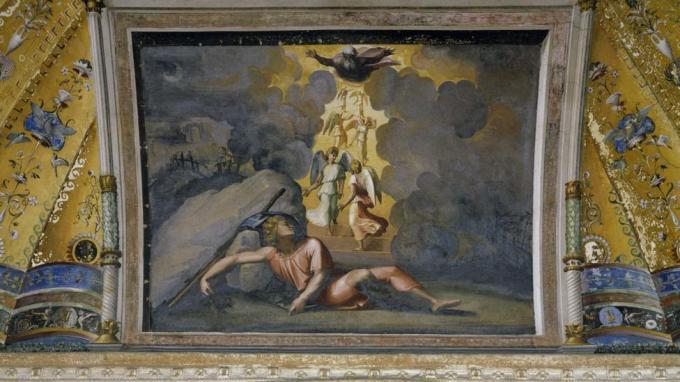 Los artistas del Renacimiento favorecieron las historias bíblicas como el Sueño de Jacob, pintado por Rafael en un techo en el Palacio Apostólico del Vaticano en 1518 (Crédito: Getty Images)