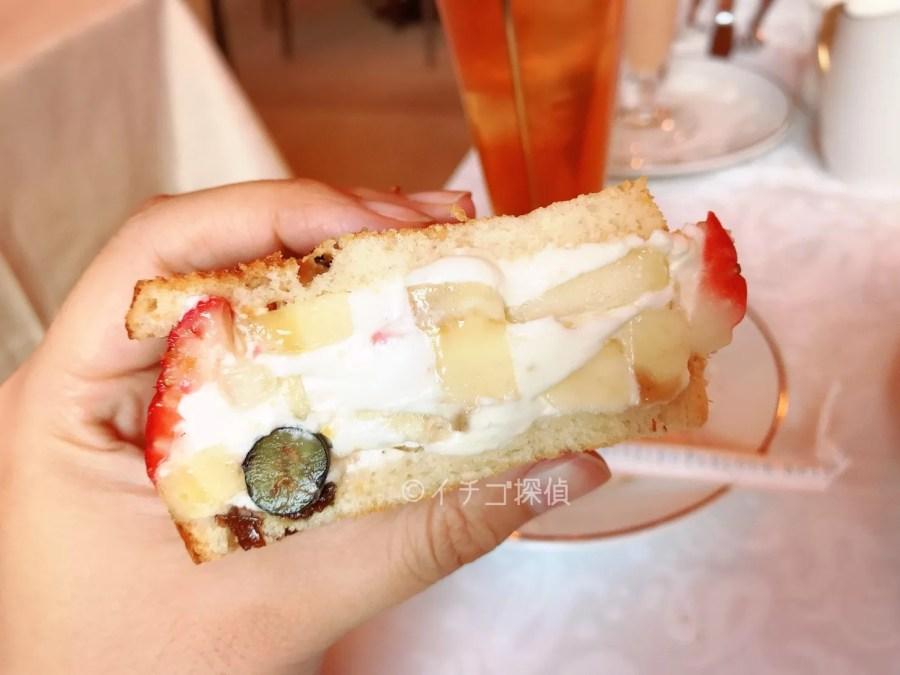イチゴ探偵|レーズンパンのフルーツサンドウィッチ!資生堂パーラー銀座本店 サロン・ド・カフェの7種のフルーツ入りサンド