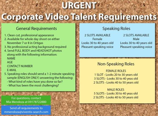 CORPORATE VIDEO TALENT REQUIREMENTS