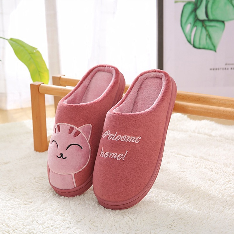 Women Winter Warm Home Slippers Couple Shoes Female Plush Cat Animal Slip On Soft Indoor Flats Comfort Ladies Man Plus Size Best Selling Product Shoes Women's Shoes