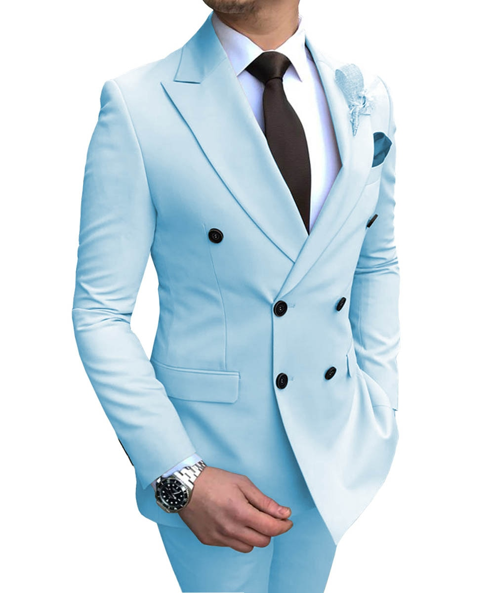 2019 New Beige Men's Suit 2 Pieces Double-breasted Notch Lapel Flat Slim Fit Casual Tuxedos For Wedding(Blazer+Pants) Best Selling Product Clothing Men's Clothing MENS SUIT AND JACKET