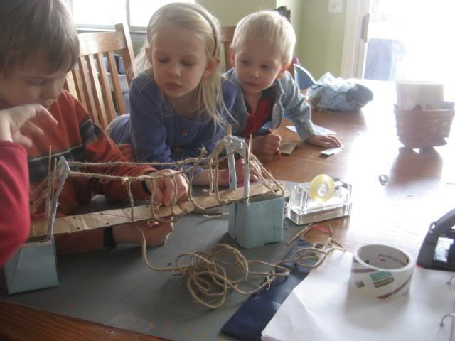 Building a suspension bridge as a homeschool history project
