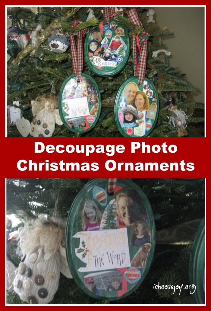 Decoupage Photo Christmas Ornament