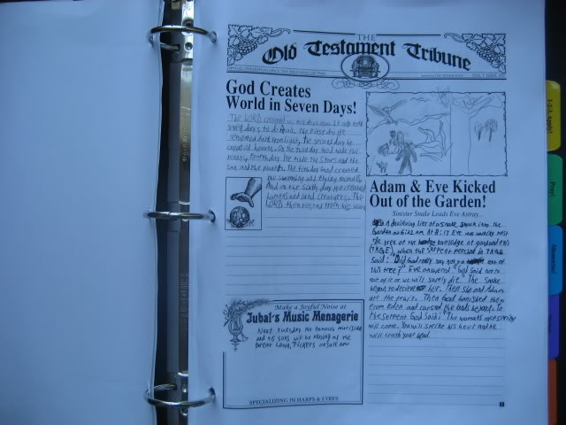 Old Testament Study from Homeschool in the Woods, writing newspaper articles