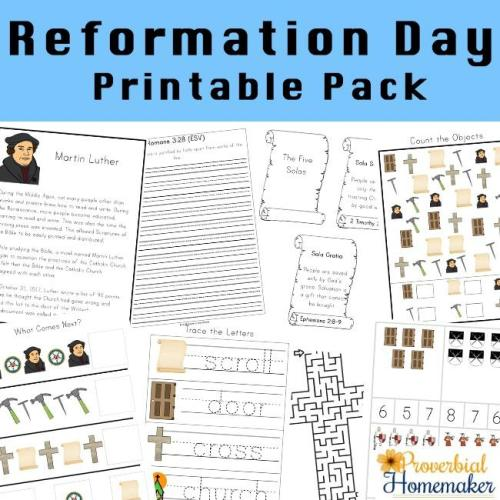 Reformation Day printable pack to learn about Martin Luther and the Protestant Reformation